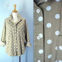 Polka Dot Blouse / Vintage Khaki Dotted Shirt / plus size