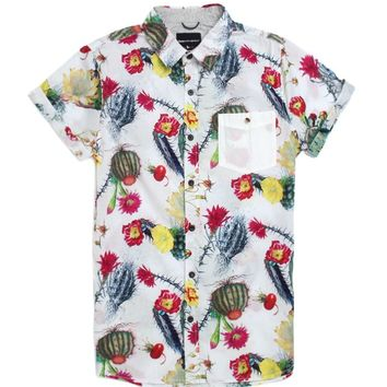Modern Amusement Cactus Pete Short Sleeve Woven Shirt - Mens Shirt - White
