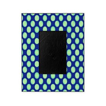 Green Yellow Circles on Dark Blue Picture Frame
