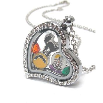 Heart Charm Halloween Locket Necklace