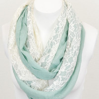 Lace Panel Infinity Scarf - Mint