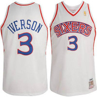 Philadelphia 76'ers Allen Iverson Throwback Home #3 Jersey