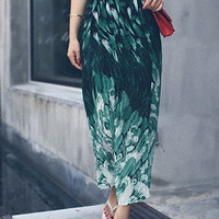 Green Peacock Print High Waist Side Slit A-line Maxi Skirt