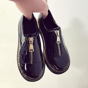 2016 New Spring zip women's platform shoes solid oxford shoes for women round toe casual shoes woman vintage creepers female