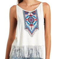 Tribal Graphic Fringe Tank Top by Charlotte Russe - White