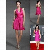 Elastic Silk-like Satin A-line Halter Short/ Mini Court Train Dress inspired by Grammy co1208 - Celebrity Dresses - Apparel
