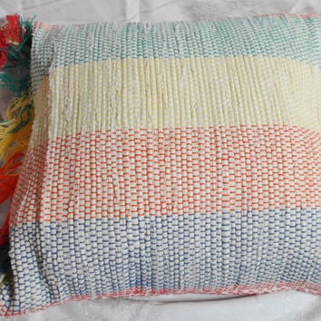 Hand woven rag rug pillow with fringe