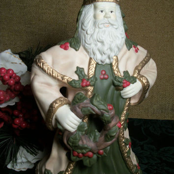 Vintage 1970's Christmas Music Box Rotating Musical Ceramic Bisque Old World Santa Claus Father Christmas Plays Tannebaum O Christmas Tree