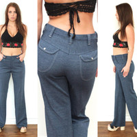 Vintage 70s WIDE LEG Flare Stretchy Knit Bell Bottom High Rise Waist Pants Jeans // Hippie Gypsy Boho // Medium / 29
