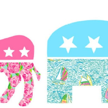 Preppy GOP decals available in lilly pulitzer prints chevron solids and much more