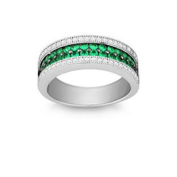 Emerald and CZ Micro Pave Ring