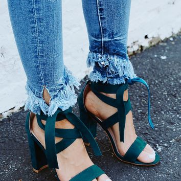 The Mia Faux Suede Lace Up Heel in Teal