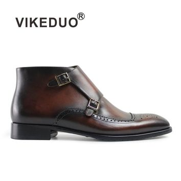 VIKEDUO Luxury Brand 2017 Fashion Newest Winter Vintage Retro Men Brown Monk Boots Mens 100% Genuine Leather Bullock Carved Boot