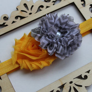 Yellow and gray shabby headband - baby headband, vintage inspired headband, shabby chic headband, headband for girls, chevron flower