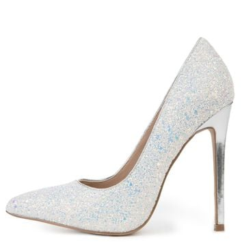 Women's Hyatt Close Toe Glitter White Pump