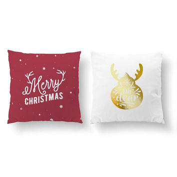SET of 2 Pillows, Merry Christmas, Oh Dear, Xmas Pillow, Cushion Cover, Decorative Pillow, Throw Pillow, Gold Pillow, Christmas Pillow