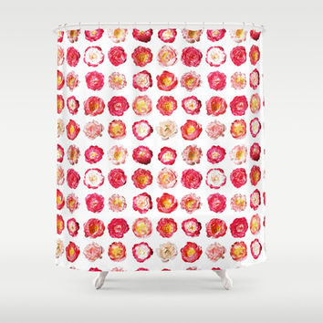 Pink Peony Shower Curtain - bright pink flower pattern shower curtain, perfect for a dorm room or girl's bathroom