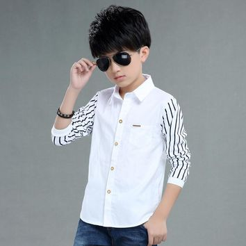 2016 autumn children's clothes boys shirts stripe long sleeve turn-down collar boy shirts for boys big kids causal shirts tops