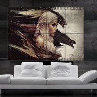 Game of thrones Daenerys Targaryen Mother of Dragons Poster print wall art HH11094 S10
