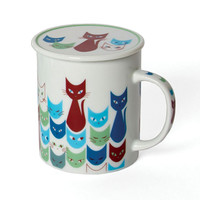 Miya Company Cat Mask Mug With Lid In Blue - Beyond the Rack