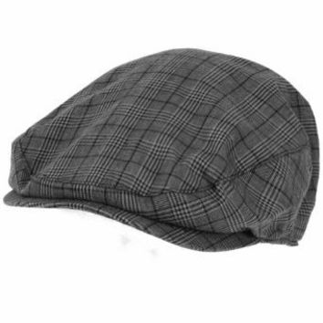 Summer Cotton Plaid Ivy Cabby Cap Hat Charcoal Black M/L