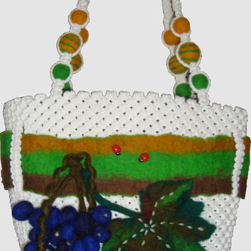 Handbag,macrame, handmade,felt, fashion bag