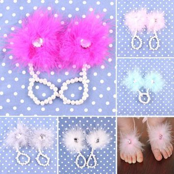 1 Pair Foot Flower Barefoot Sandals Feather Flower Sandals Pearl Headband Set Hair Acc