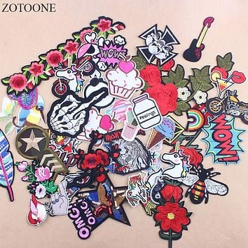 ZOTOONE Promotion 30Pcs Random Mixed Flower Biker Letter Iron On Patches Stripe Sequin Embroidered Applique Patch For Clothing