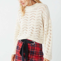 UO Jenni Pointelle Pullover Sweater | Urban Outfitters