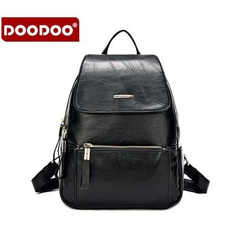 DOODOO 5 colors Fashion PU Leather Backpacks Women Bags Preppy Style Backpack Girls School Bag Zipper Shoulder Women's Back