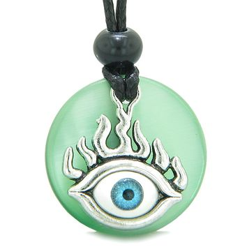 Cool Evil Eye Protection Flames Amulet Neon Green Simulated Cats Eye Medallion Magic Powers Necklace