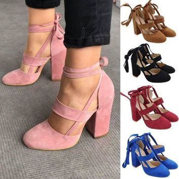 Women's Ankle Strap Suede Pointed Lace up Block High Heels Pump Shoes Size 5-9