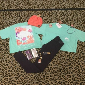 Mint Comfort Colors with Floral Buffalo is Grand Back-t-shirt