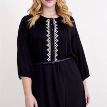 Ardent Courtship 3/4 Sleeve Embroidered Peasant Dress in Black | Sincerely Sweet Boutique