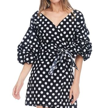Black Polka Dot Print Bow Tie Short Dress