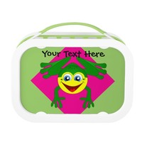 Cute Frog on Pink and Green Lunchbox