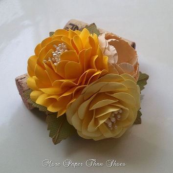 Handmade Paper Flowers - Corsage - Shades of Yellow - Weddings - Bridal Shower - Baby Shower - Customized Colors - Made To Order