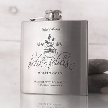 Felix Felicis Potion Flask, inspired by Harry Potter -  6oz or 8oz Engraved Hip Flask