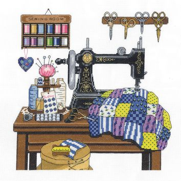 """Antique Sewing Room Counted Cross Stitch Kit 12""""X12"""" 14 Count"""