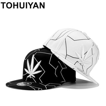 Trendy Winter Jacket TOHUIYAN Hempleaf Embroidery Snapback Cap Flat Visor Baseball Hat Street Dancing Hip Hop Caps Men Women Adjustable Cotton Hats AT_92_12