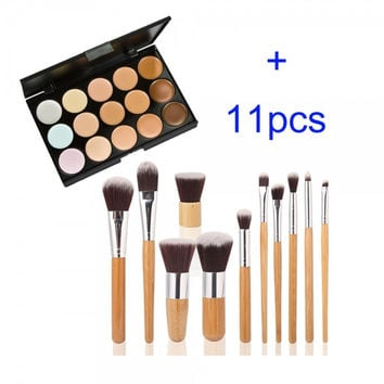 15 Colors Contour Face Cream Makeup Concealer Palette + 11PC Bamboo Powder Brush