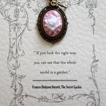Secret Garden Necklace with Rose Cameo and Key Charm
