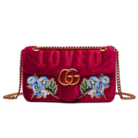 Gucci Bag Velvet Women Shopping Flower Print Bag Shoulder Bag LOVE / MODERN Word Bag B104478-1 Flower red