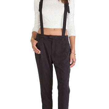Obey Smith Suspender Pants in Charcoal