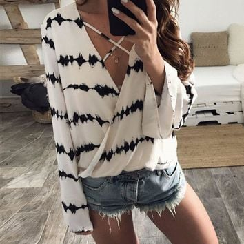 Chiffon Sexy Long Sleeve Print Tops [10585143303]