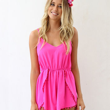 Spaghetti Strap V-Neck Pleated Romper with Pom Decor