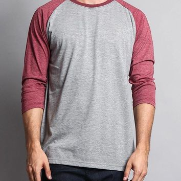 Men's Baseball T-Shirt TS900 (Grey/Burgundy) - B12C