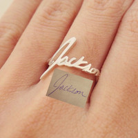 SALE Memorial Signature Ring - Personalized Handwriting Ring - Keepsake Jewelry in Sterling Silver - Bridesmaid Gift - MOTHER GIFT