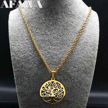 2018 Fashion Tree of Life Stainless Steel Necklaces Women Jewlery Gold Color Round Long Necklaces Jewelry collares joyas N18042