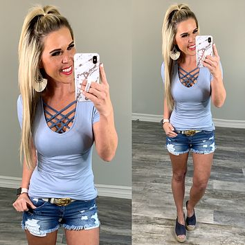 Basic V-Neck Tee: Ash Blue